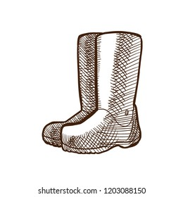 Autumn and autumn motives. Autumn high rubber boots. Rainy weather, slush, mud. Rubber Garden boots. Protection shoes. Working uniform. Waterproof footwear. Illustration in style engraving.