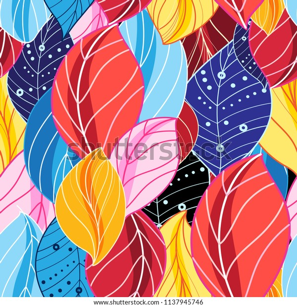Autumn multicolored pattern of beautiful leaves