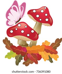 autumn mushrooms and butterfly