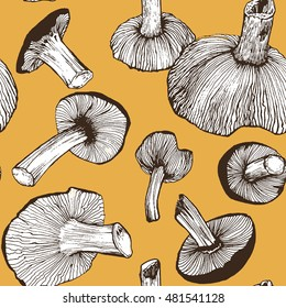 autumn mushrooms seamless pattern