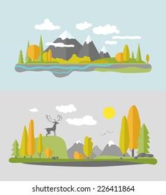 Autumn nature design. Vector flat style.