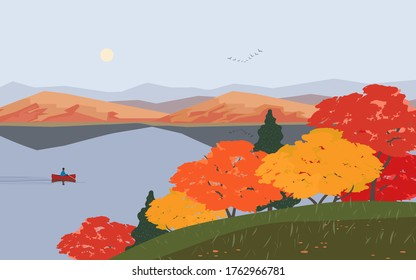 Autumn nature landscape. Colorful minimal cartoon. Fall season banner background. Boat on calm river water, red maple autumn hill. Alps mountain valley lake scenic view. Outdoors vector Illustration