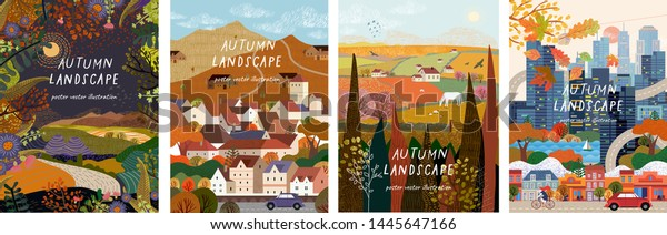 Autumn nature, village, country, city landscapes. Vector illustration of natural, urban and rustic background for poster, banner, card, brochure or cover.