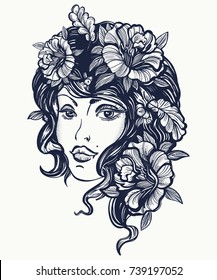 Autumn nature woman old school tattoo and t-shirt design. Symbol of queen, princess, lady, elegance, glamour, renaissance girl