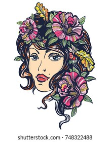 Autumn nature woman old school color tattoo. Symbol of queen, princess, lady, elegance, glamour girl