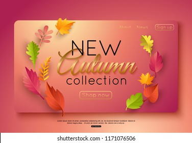 Autumn new collection vector banner template