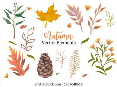 Autumn object set with dry tree,flower,acorn,leaves.Illustration for sticker,postcard,invitation,element website