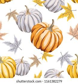 Autumn orange, gray pumpkins, leaves, white background. Vector seamless pattern. Halloween illustration. October harvest. Organic vegetable garden food. Nature design. Thanksgiving day. Fall season