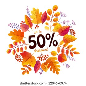 Autumn orange leaves vector splash frame with 50% discount offer