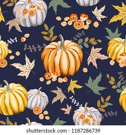 Autumn orange pumpkins, flowers, leaves, black background. Vector seamless pattern. Halloween illustration. October harvest. Organic vegetable garden food. Nature design. Thanksgiving day. Fall season