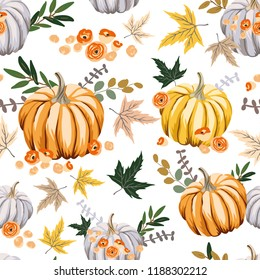 Autumn orange pumpkins, flowers ,leaves, white background. Vector seamless pattern. Halloween illustration. October harvest. Organic vegetable garden food. Nature design. Thanksgiving day. Fall season