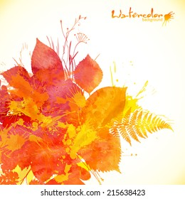 Autumn orange watercolor painted vector foliage background