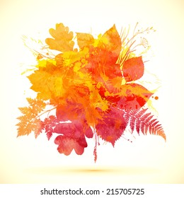Autumn orange watercolor painted vector foliage banner