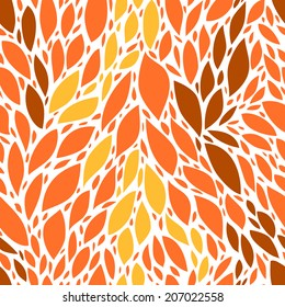 Autumn orange and yellow leaves seamless pattern, vector