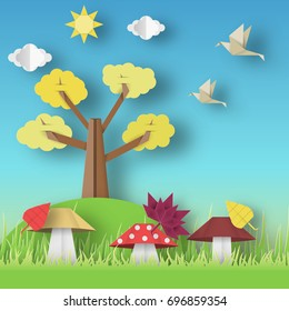 Autumn Origami Landscape with Clouds, Sun, Mushrooms, Leaves, Birds, Trees, Crafted Abstract Paper Concept. Cut Applique with Elements. Nature Cutout Template. Vector Illustrations Art Design.