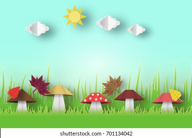 Autumn Origami Landscape with Clouds, Sun, Mushrooms, Birds, Leaves, Crafted Abstract Paper Concept. Cut Applique Scene with Elements. Quality Cutout Template. Vector Illustrations Art Design.