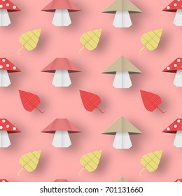 Autumn Origami Pattern with Leaves and Mushrooms. Crafted Abstract Paper Seamless Background. Beautiful Texture with Cut 3D Elements. Quality Cutout Backdrop. Vector Illustrations Art Design.