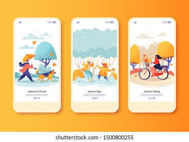 Autumn outdoor concept for website or web page. People and children walk in the rain,man walking dog, girl riding bike on warm autumn day. Template for mobile app page. onboard screen set.