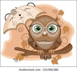 Autumn Owl with green eyes, on a branch, with umbrella. The picture in hand drawing cartoon style, can be used for t-shirt print, wear fashion design, greeting card, party invatation