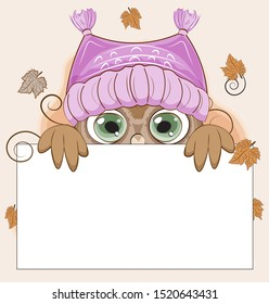 Autumn Owl with green eyes, on a branch in hat. frame. The picture in hand drawing cartoon style, can be used for t-shirt print, wear fashion design, greeting card, party invitation