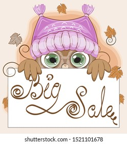 Autumn Owl with green eyes, on a branch in hat. Big sale frame. The picture in hand drawing cartoon style.