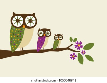 Autumn Owls in a Row Illustration Vector