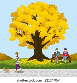Autumn park big tree -EPS10
