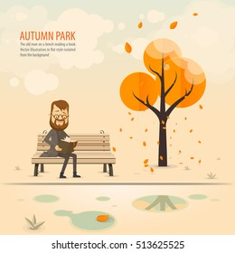 Autumn Park, an man on a bench reading a book. Vector illustration in flat style isolated from the background