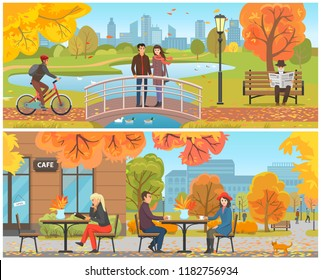 Autumn park and relaxing resting people set vector. Male riding bicycle, couple standing on bridge feeding geese on water. Cafe human drinking coffee