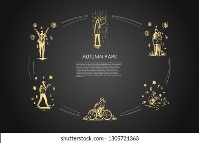 Autumn park - walking in rain with umbrella, enjoying leaf fall, riding bicycles, making photoes of fallen leaves, making paper boats vector concept set. Hand drawn sketch isolated illustration