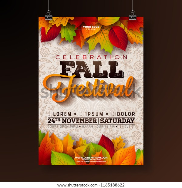 Autumn Party Flyer Illustration with falling leaves and typography design on doodle pattern background. Vector Autumnal Fall Festival Design for Invitation or Holiday Celebration Poster.