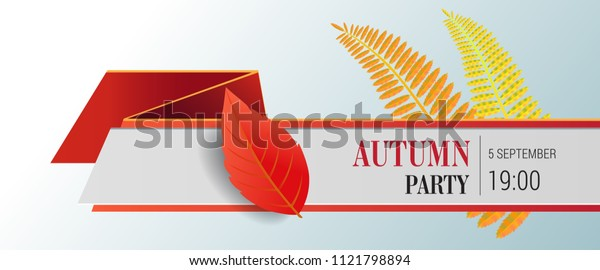 Autumn party lettering and bright leaves. Autumn offer or sale advertising design. Typed text, calligraphy. For leaflets, brochures, invitations, posters or banners.