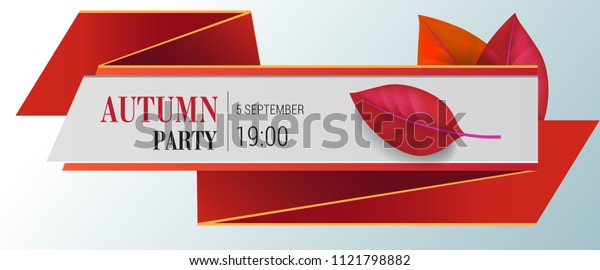 Autumn party lettering with red leaves. Autumn offer or sale advertising design. Typed text, calligraphy. For leaflets, brochures, invitations, posters or banners.