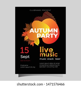 Autumn Party poster with lettering collection templates