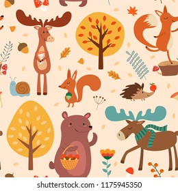Autumn pattern with cute hand drawn forest animals and fall floral elements. Vector seamless texture.