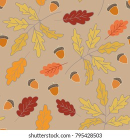 Autumn pattern featuring colorful leaves, tree brunches and acorns in pastel colors. Hand drawn illustration with isolated elements on a beige background.