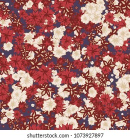 Autumn Pattern. Floral Texture for Textile, Fabric, Wallpaper. Small Flowers in Retro Colors.