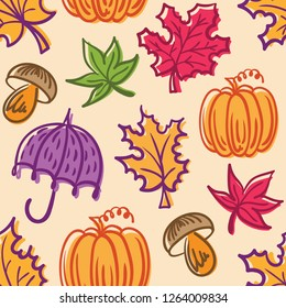 Autumn pattern with maple pumpkin leaves and umbrella.