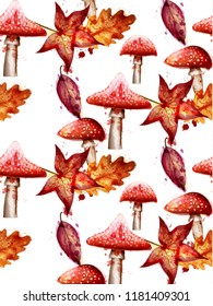 Autumn pattern with red Mushrooms watercolor Vector on white backgrounds