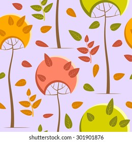 Autumn pattern with trees on a pale purple background