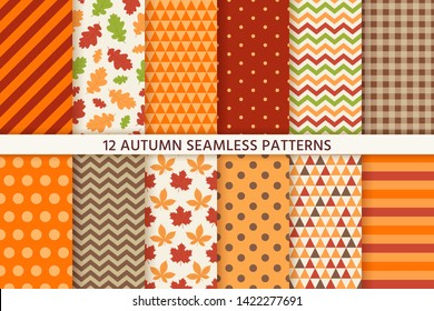 Autumn pattern. Vector. Seamless background with fall leaves, zig zag, polka dot and stripes. Set seasonal geometric wallpapers. Colorful cartoon illustration in flat design.