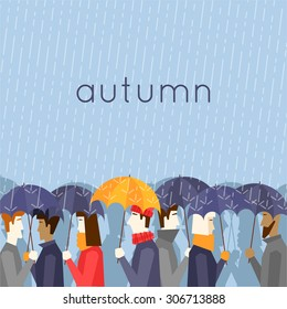 Autumn people with umbrellas the rain. Flat design vector illustration.