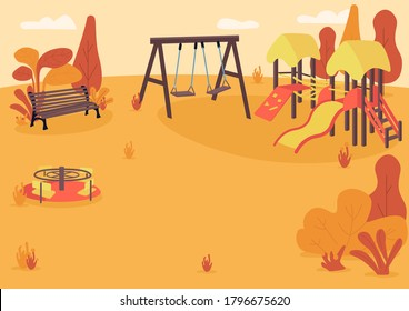 Autumn playpark flat color vector illustration. Public park in fall. Empty children recreation area. Autumn park zone with kids playground equipment 2D cartoon landscape with trees on background