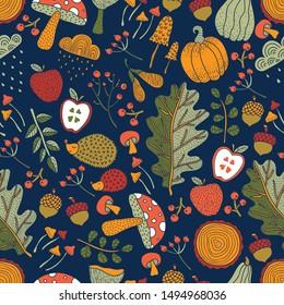 Autumn and polka dots.Vector seamless pattern.
