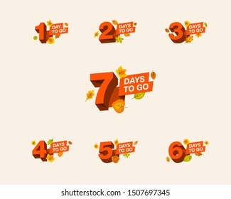 Autumn promo number of days left to go countdown for sale, promotion, poster or banner. Simple flat illustration with 3d numbers.