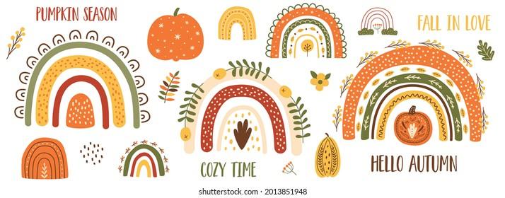 Autumn pumpkin clip art, autumn rainbow set. Thanksgiving pumpkin, fall floral elements, cute arches