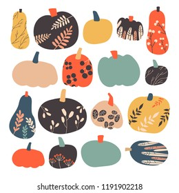 Autumn pumpkin collection in vector. Hand drawn stylized pumpkin with ornament. Perfect for  background, print, cards. Cartoon illustration.