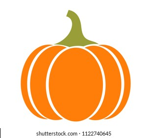 Autumn pumpkin icon on white background. Vector illustration