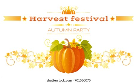 Autumn pumpkin patch greeting card. Harvest festival poster. Fall party invitation banner. Thanksgiving day - american traditional family holiday, white background isolated, vector illustration flyer.
