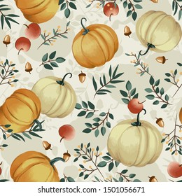 Autumn pumpkins with cream background pattern. Leaves, apples, acorns ditsy. Perfect for fall, Thanksgiving, holidays, fabric, textile. Separate elements, separate background. Seamless repeat swatch.